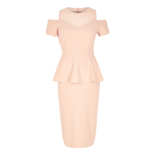 RIVER ISLAND light pink peplum dress - Jersey crepe Bodycon Crew neck Cold shoulder Peplum detail...