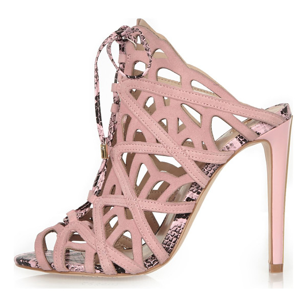 RIVER ISLAND light pink suede caged tie-up heels - Suede upper Caged design Lace-up front Slim stiletto heel...
