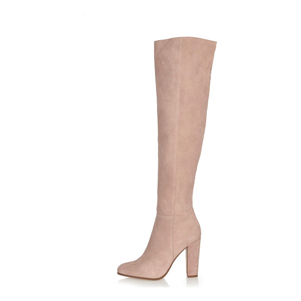 RIVER ISLAND light pink suede high leg heeled boots - Premium suede fabric High leg with open back seam Side zip...
