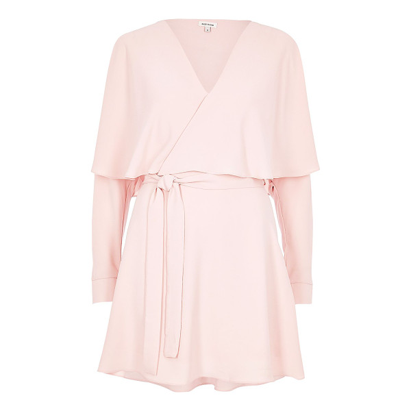 RIVER ISLAND blush pink wrap cape dress - Soft jersey fabric V-neckline Long sleeve Tied waist with...