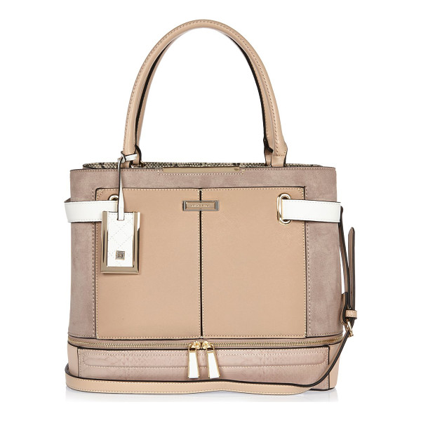 RIVER ISLAND nude panel boxy tote bag - Mixed fabric panels Top handles Adjustable shoulder straps...