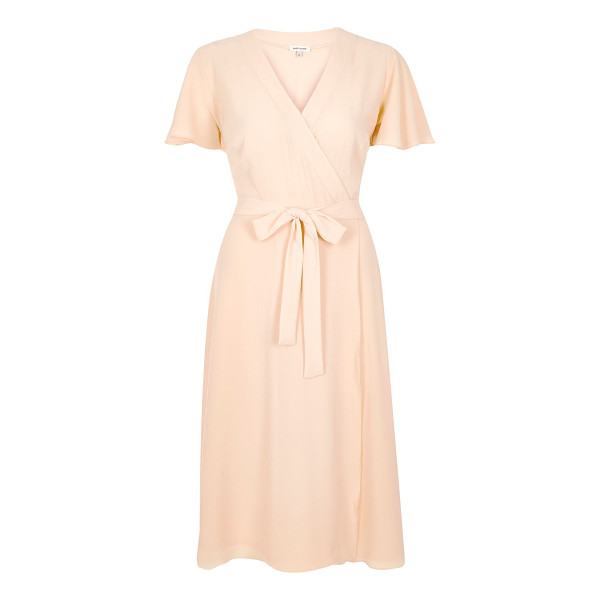 RIVER ISLAND light pink wrap midi dress - Fitted waist Wrap design Midi dress V-neck Short sleeve...