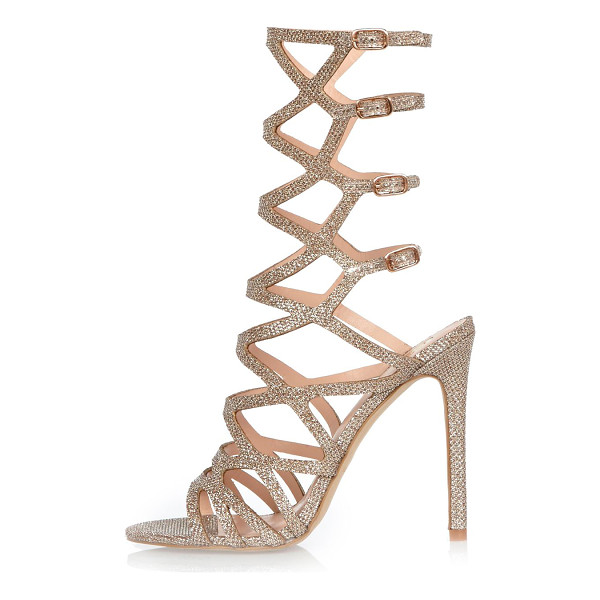RIVER ISLAND metallic gladiator heel sandals - Metallic gold tone Caged design Pin buckle strap fastening...