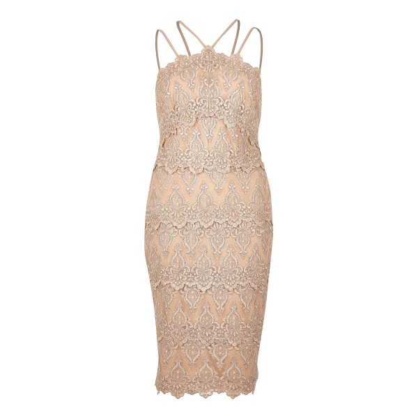 RIVER ISLAND nude cornelli dress - Cornelli lace Layered detail Bodycon High neck Multiple...
