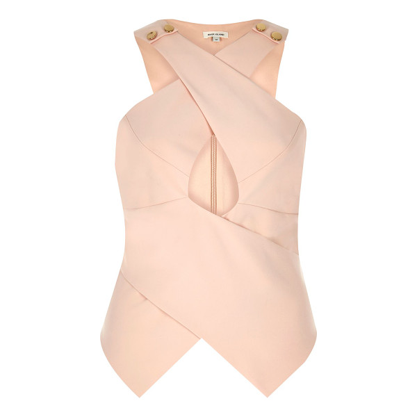 RIVER ISLAND nude crossover top - Stretch woven Crossover design Fitted top Cut-out detail...