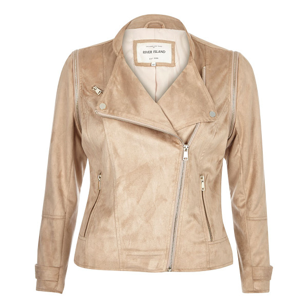 RIVER ISLAND nude faux suede biker jacket - Faux suede Fitted Asymmetric zip front Long sleeves Two...