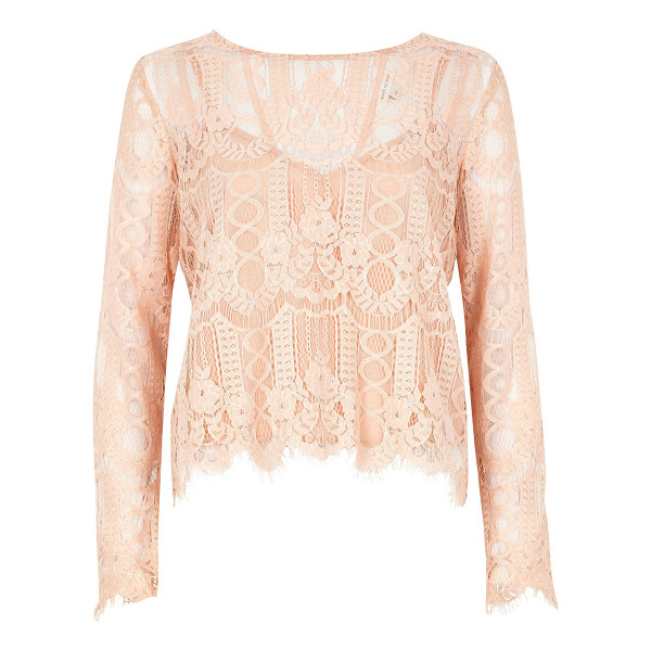 RIVER ISLAND nude lace top - Delicate lace Cami slip underlayer Round neck Long sleeve...