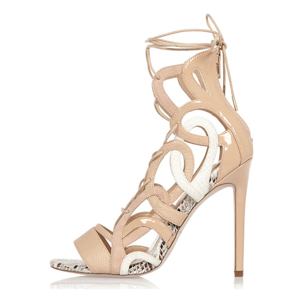 RIVER ISLAND nude lace-up caged heels - Faux suede upper Caged design Lace-up fastening Back zip...