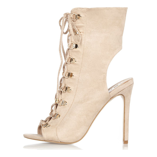 RIVER ISLAND nude lace-up shoe boots - Faux suede upper D-ring clasp detail Lace-up fastening...