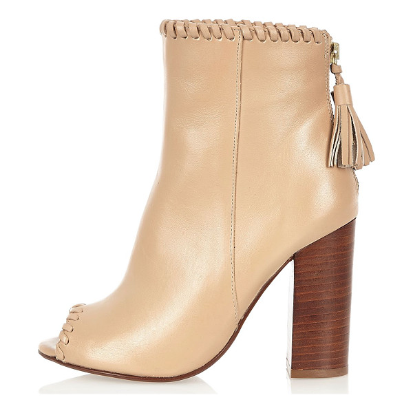 RIVER ISLAND nude leather whipstitch heeled shoe boots - Le ather upper Open peep toe High ankle design Zip back...