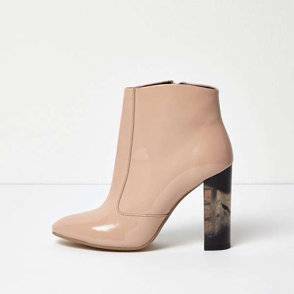 RIVER ISLAND nude patent perspex heel ankle boots - Premium patent upper Pointed toe Contrast perspex block...