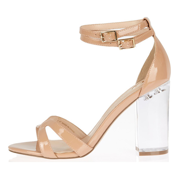 RIVER ISLAND nude perspex heel sandals - Patent upper Cross-strap front Double buckle ankle straps...