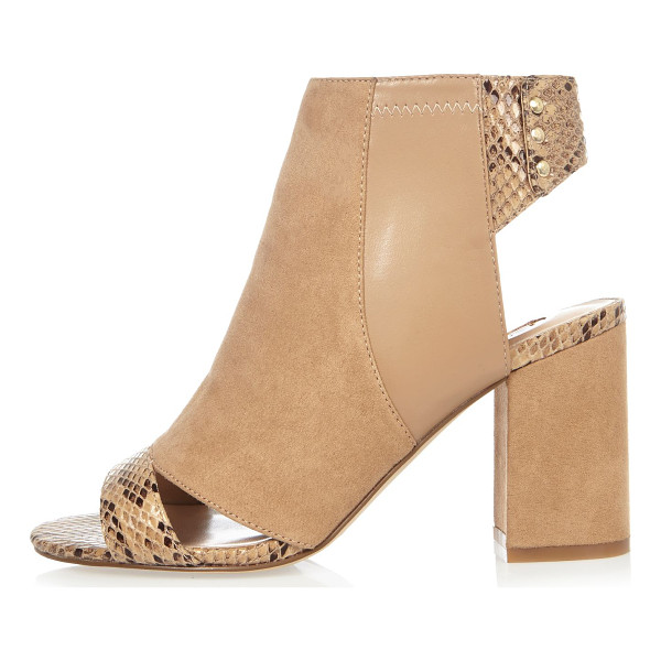 RIVER ISLAND nude print panel shoe boots - Faux suede upper Snake print panel Peep toe and open heel...