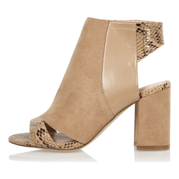 RIVER ISLAND nude print panel wide fit shoe boots - Faux suede upper Snake print panel Peep toe and open heel...
