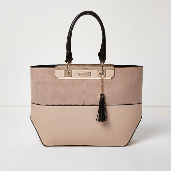 RIVER ISLAND nude split panel tote bag - Horizontal panelling with black piping Rose gold tone trim...
