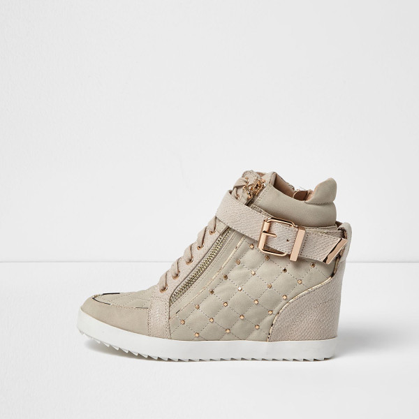 RIVER ISLAND nude studded wedge hi tops - Quilted design Lace-up fastening Zip front Buckle and stud...