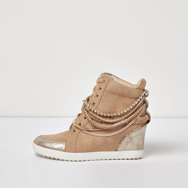 RIVER ISLAND nude suede chain hi tops - Suede upper Embellished chain detail Gem encrusted with...