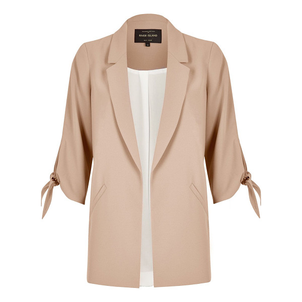 RIVER ISLAND nude tied cuff open blazer - Premium woven fabric Sleek, slim lapels Mid sleeves with...