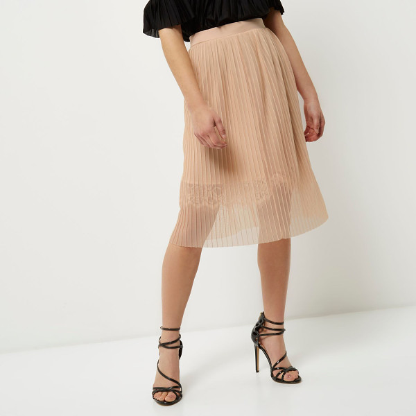 RIVER ISLAND petite nude pleated lace trim midi skirt - Petite collection Pleated woven fabric Layered skirt design...