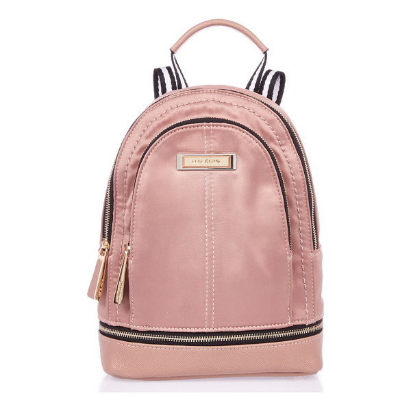 RIVER ISLAND blush pink mini nylon backpack - Nylon fabric Zip compartment Gold tone detail Top handle...
