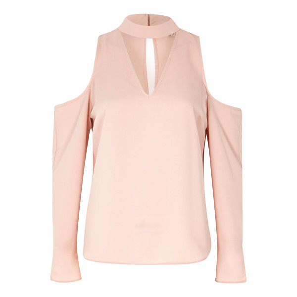 RIVER ISLAND pink cold shoulder choker blouse - V-neck with choker band Relaxed fit Cold shoulder Long...