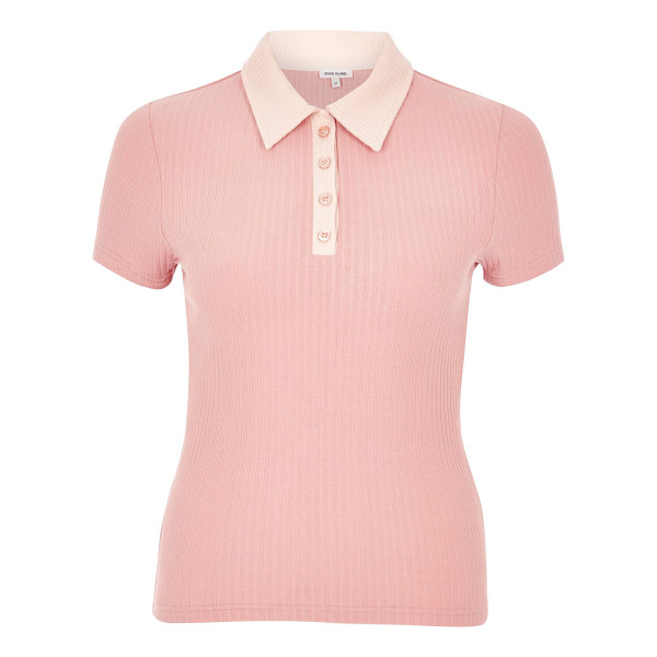 RIVER ISLAND pink contrast collar polo shirt - Ribbed jersey Contrast collar and placket Button-up front...