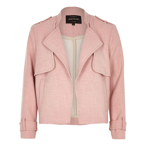 RIVER ISLAND pink cropped trench jacket - Bonded woven fabric Unfastened front Long sleeves Shoulder...