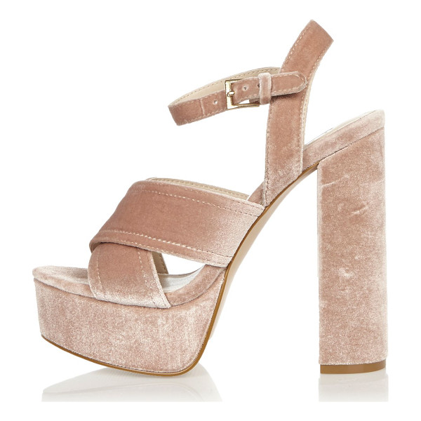 RIVER ISLAND pink cross strappy platform heels - Velvet upper Cross strap detail Buckle ankle strap Platform...