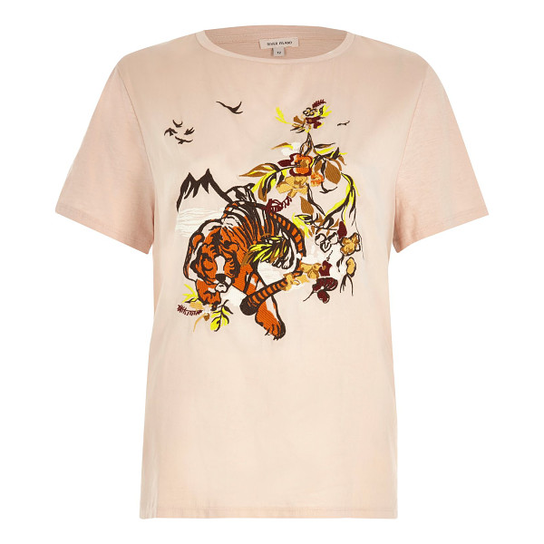 RIVER ISLAND pink embroidered tiger t-shirt - Satin front fabric Embroidered detail Regular fit Crew neck...