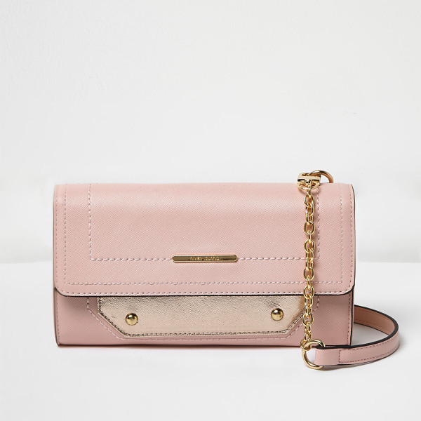 RIVER ISLAND pink foldover cross body bag - Leather look foldover flap Contrast white side detail...