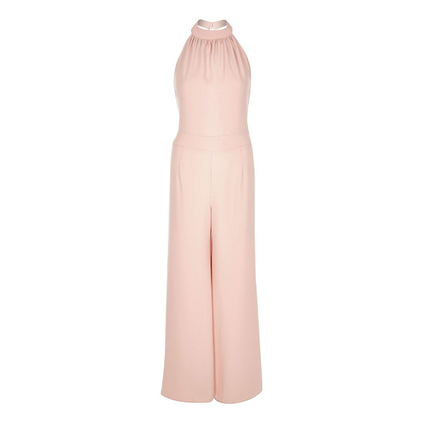 RIVER ISLAND pink halter neck wide leg jumpsuit - Satin crepe Halter neck Wide leg Ruched top Our model wears...