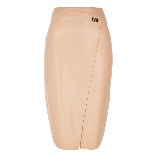 RIVER ISLAND pink leather look wrap pencil skirt - Faux leather Wrap front Clasp fastening Midi length Split...