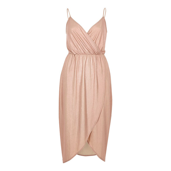 RIVER ISLAND pink metallic wrap slip dress - Metallic ribbed fabric Wrap front Cami straps Cinched-in...