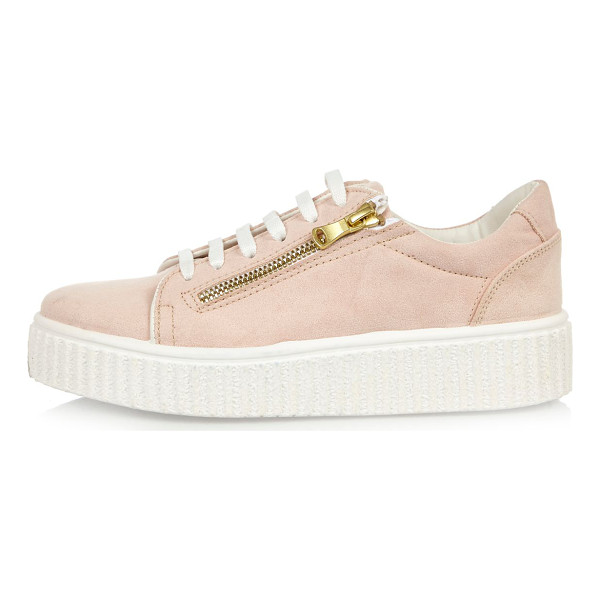 RIVER ISLAND pink platform sneakers - Faux suede upper Rounded toe Zip detail Lace-up fastening...