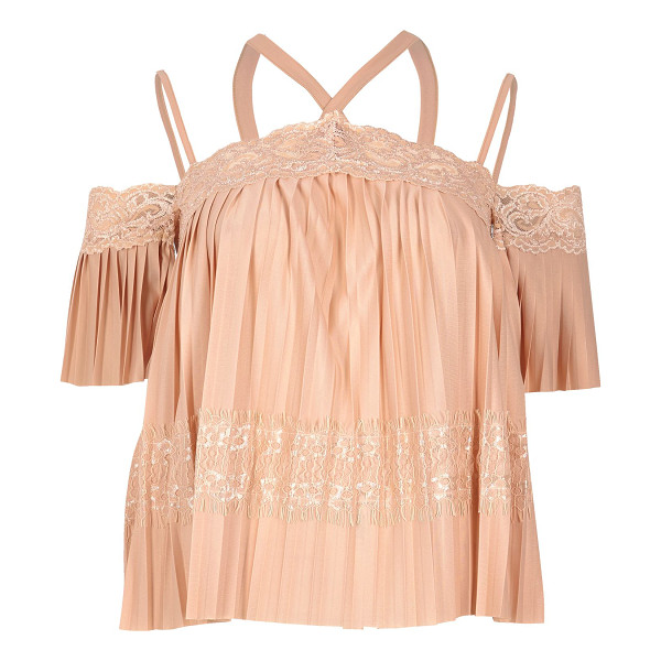 RIVER ISLAND pink lace pleated cold shoulder top - Plissé with lace panels Multi strap cold shoulder detail...