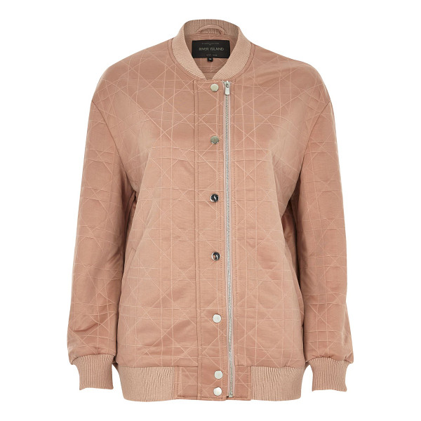 RIVER ISLAND pink quilted bomber jacket - Soft quilted fabric Oversized fit Asymmetric zip and popper...