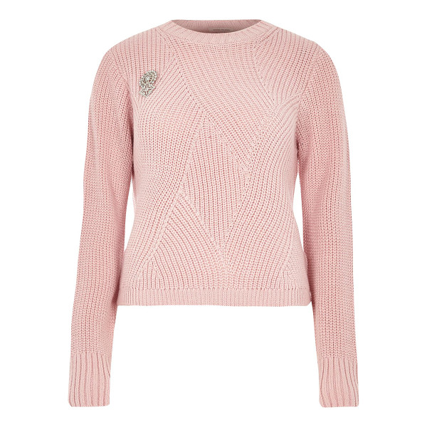 RIVER ISLAND pink ribbed knit sweater with brooch - Mid weight knit Ribbed stitch detail Silver brooch detail...