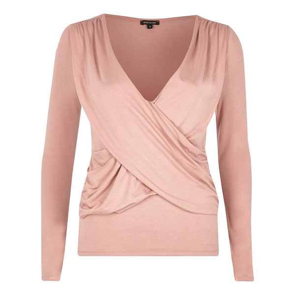 RIVER ISLAND pink ruched wrap top - Single jersey fabric Ruched wrap front Fitted top...