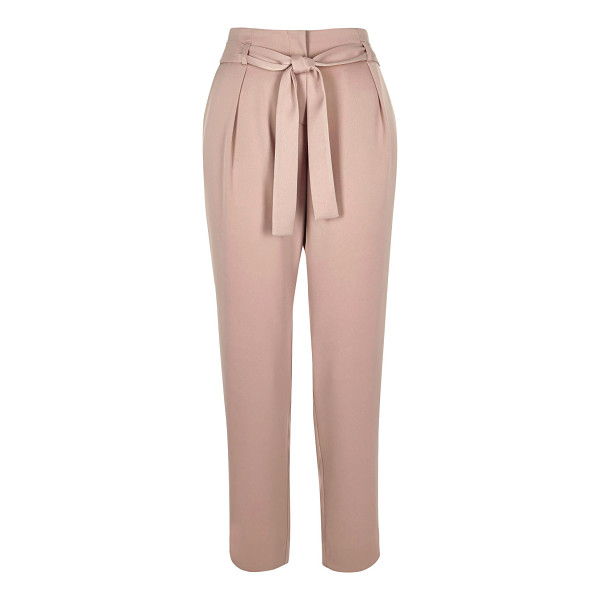 RIVER ISLAND pink soft tie tapered pants - Woven fabric High waisted Tied waistbelt Tapered shape