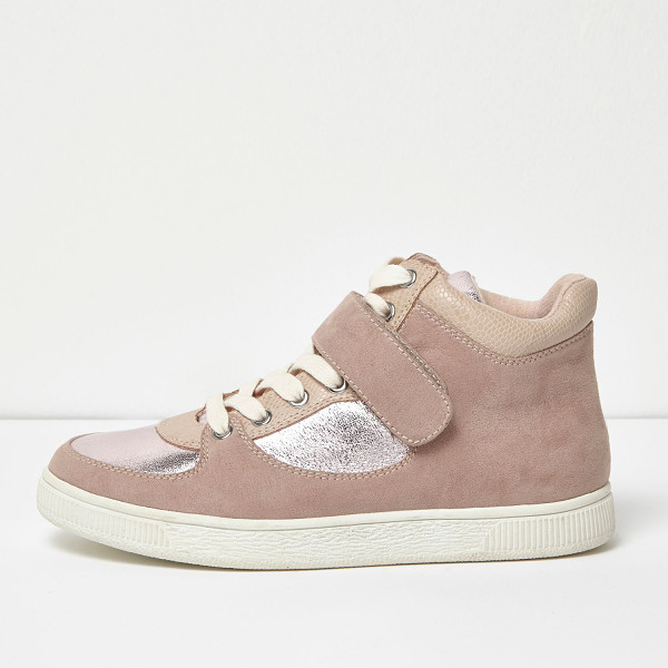 RIVER ISLAND pink textured panel hi tops - Textile upper Contrast silver panelling Snake print padded...