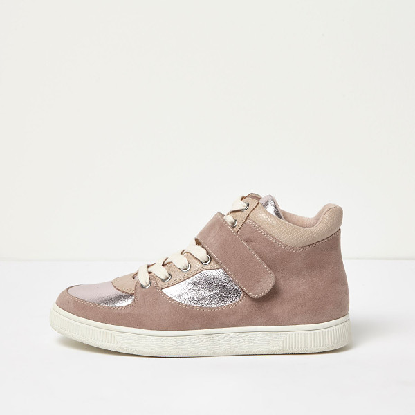 RIVER ISLAND pink wide fit textured panel hi tops - Textile upper Contrast silver panelling Snake print padded...