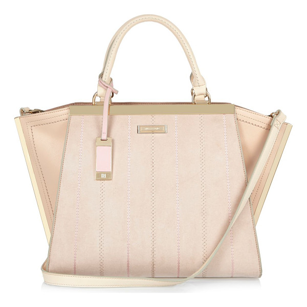 RIVER ISLAND nude winged tote bag - Smooth central panel Stitch detail Large winged tote Grab...