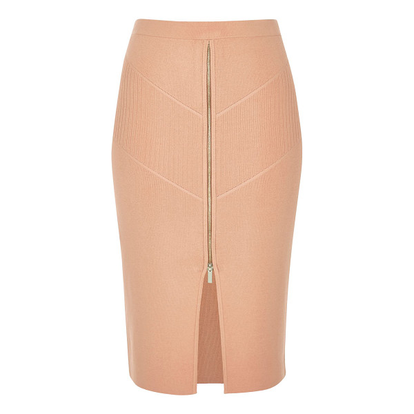 RIVER ISLAND pink zip stretch knit pencil skirt - High shine knit fabric High-waisted b odycon fit Zip front...