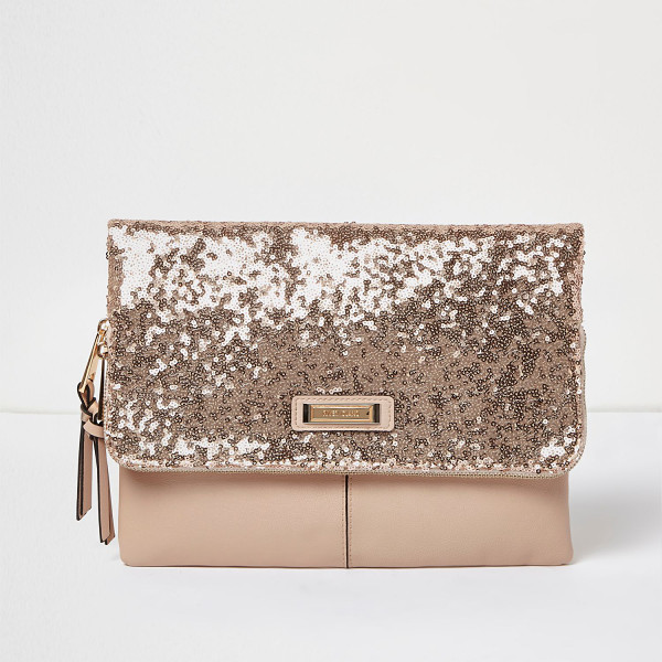 RIVER ISLAND rose gold sequin fold over clutch bag - Rose gold sequin Leather look Fold over design Zip front...