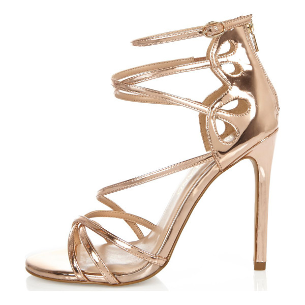 RIVER ISLAND rose gold tone wide fit strappy heels - Rose gold tone upper Caged design Back zip fasetning Skinny...