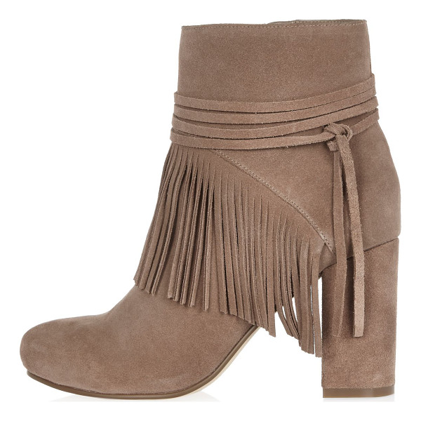 RIVER ISLAND sand brown suede fringed ankle boots - Suede upper Rounded toe High ankle design Multiple straps...