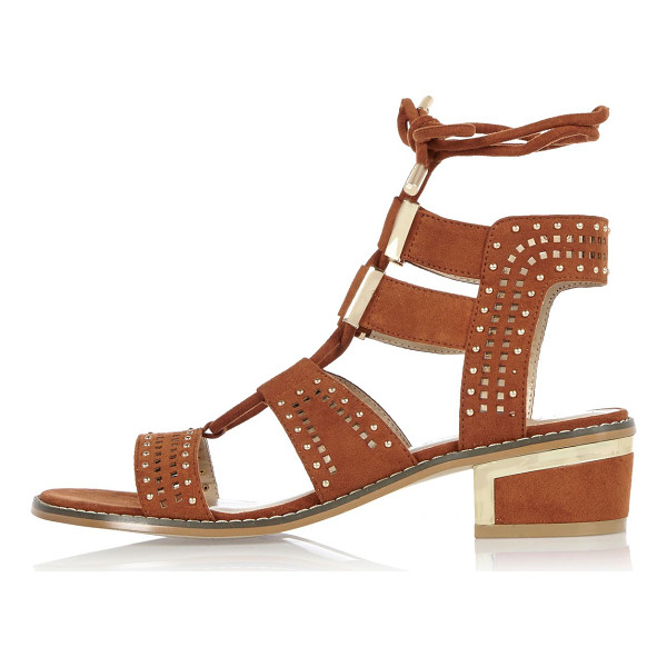 RIVER ISLAND tan block heel sandals - Faux suede Stud detail Lace-up fastening Block heel