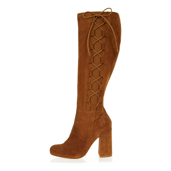 RIVER ISLAND tan suede knee high lace-up boots - Suede upper Round toe Knee high design Lace up side...