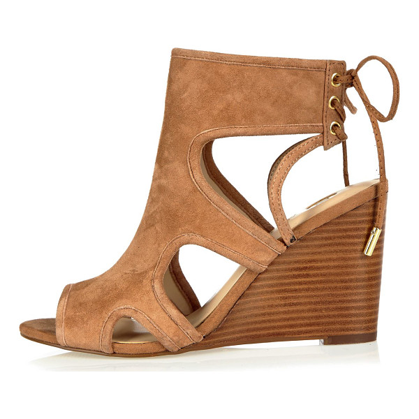 RIVER ISLAND tan suede cut-out peep toe wedges - Suede Open peep toe Cut-out sides High ankle design Lace-up...