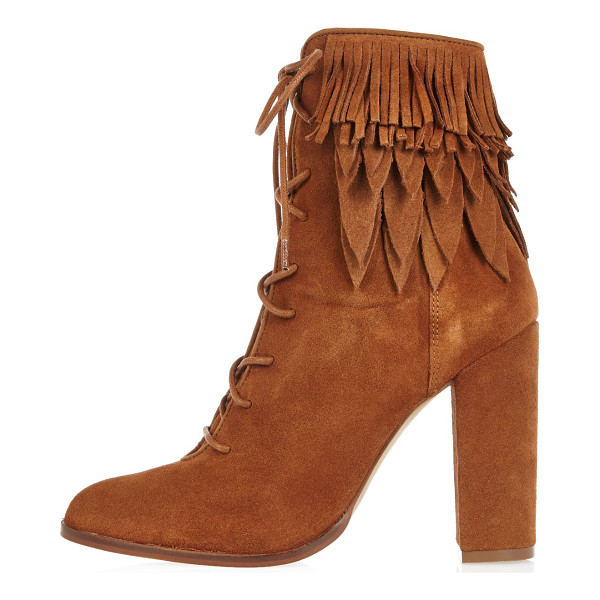 RIVER ISLAND tan suede lace-up fringed heeled boots - Suede Rounded toe Lace-up front High ankle design Layered...